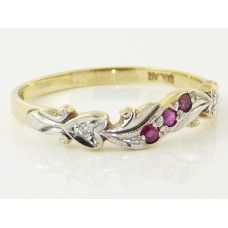 9CT Y/GOLD WITH RHODIUM PLATING, RUBY & DIAMOND RING - $585.00