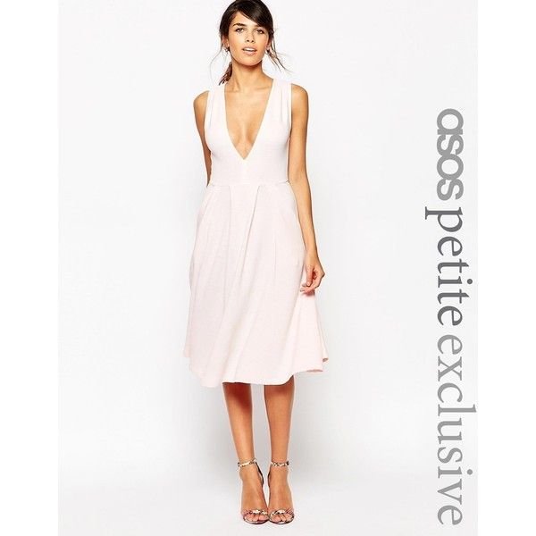 ASOS PETITE Exclusive Midi Dress in Texture with Plunge Neck ($69) ❤ liked on Polyvore featuring dresses, pale blue, white dress, white midi dress, asos, white plunge neck dress and white textured dress