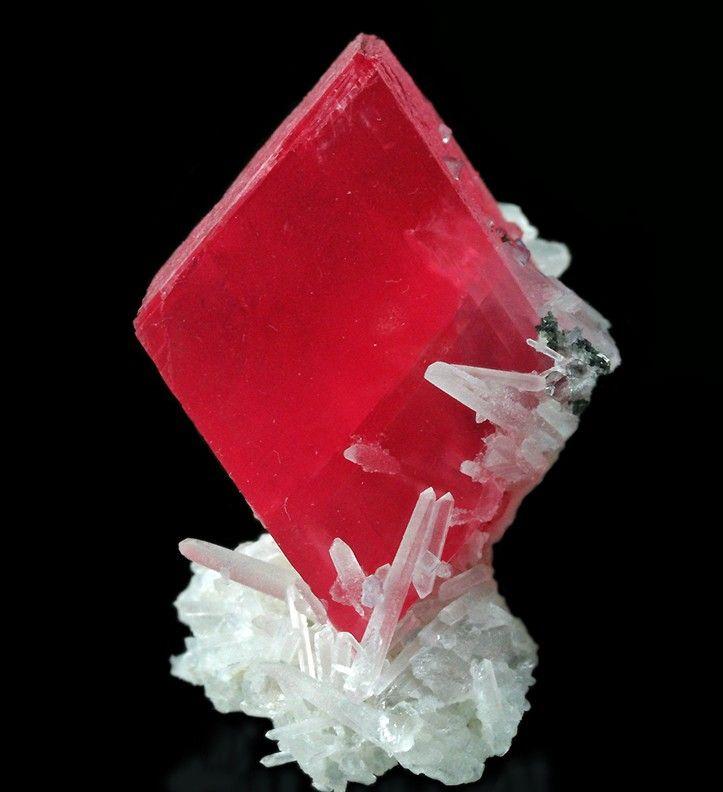 Rhodochrosite on Quartz. Sweet Home Mine (Home Sweet Home Mine), Mount Bross, Alma District, Park County, Colorado.