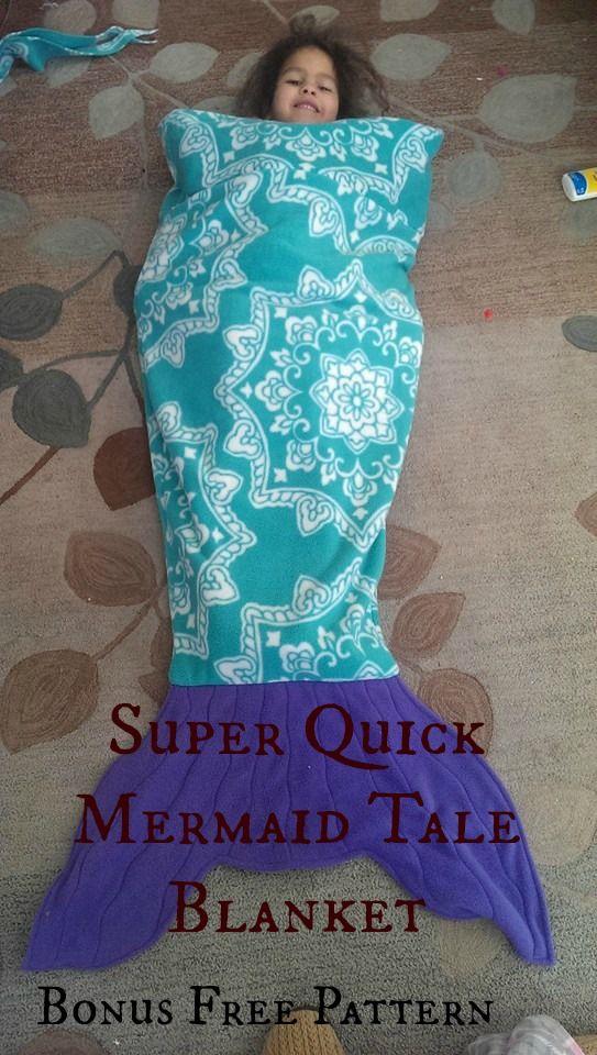 Super Quick Mermaid Tale Blanket with bonus free pattern.