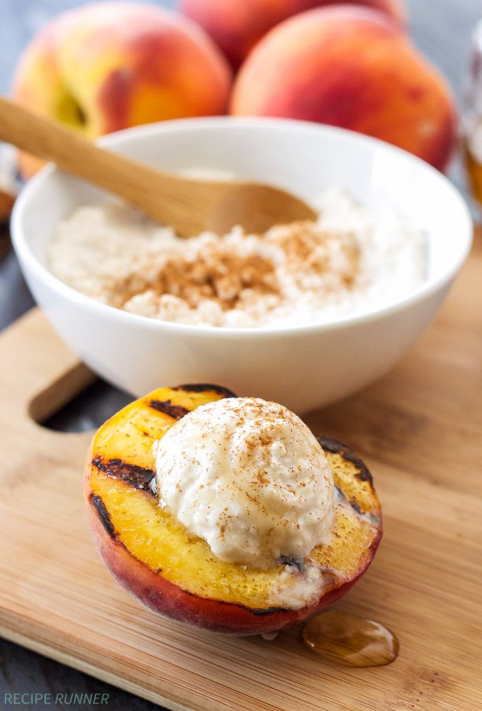 Grilled Peaches with Cinnamon Honey Ricotta - This light and not too sweet summer dessert takes only minutes to make and tastes so good!