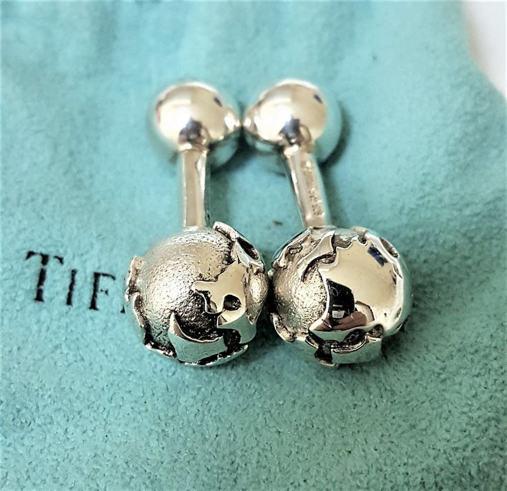 TIFFANY+AND+CO.+STERLING+SILVER+GLOBE+CUFF+LINKS+~+BARBELL+DESIGN+~+POUCH+~+EXCELLENT+!!!