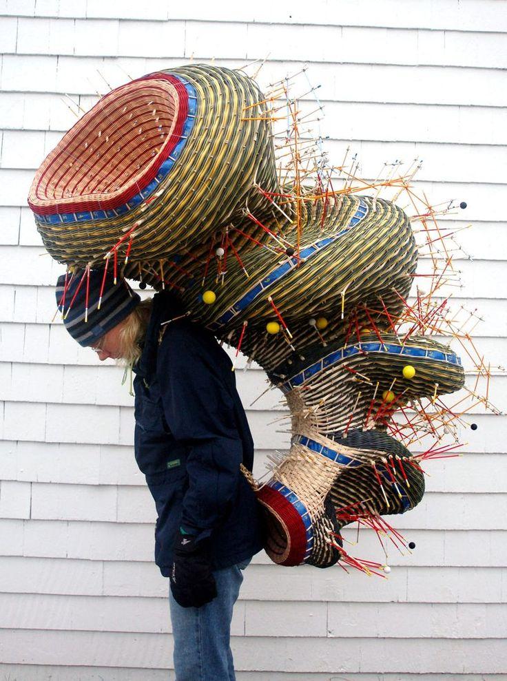 Nathalie Miebach carries her sculpture 'Antarctic Explorer'