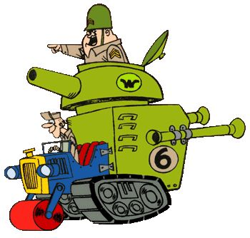 The Army Surplus Special driven by Sergeant Blast and Private Meekly