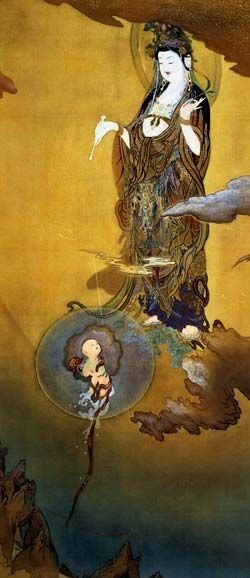 This looks like the higher self sending out a facet to earth. I wonder what was intended...KANO Hougai (1828~1888), Japan 悲母観音 狩野芳崖