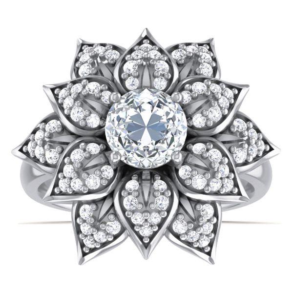 Floret Solitaire Ring