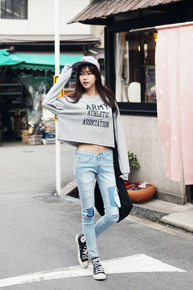 army round neck cropped sweatshirts - Genuine Korean style fashion from Korea #fashion - Alyssa Kuhnke