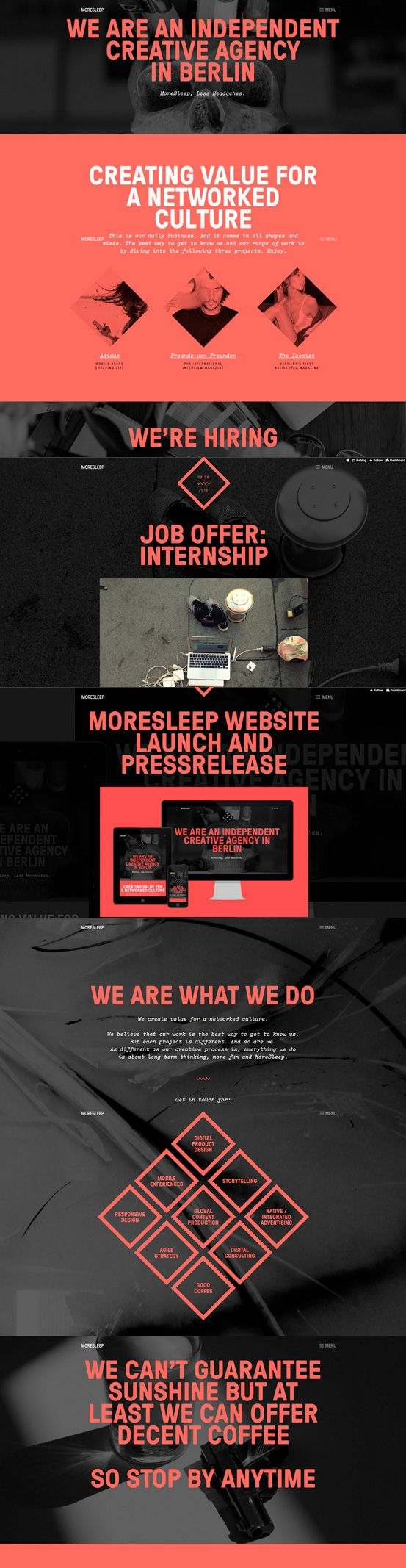 MoreSleep #webdesign #inspiration #UI #Typography #Responsive Design #Design #Portfolio #Parallax #Scroll #Black #White #Red