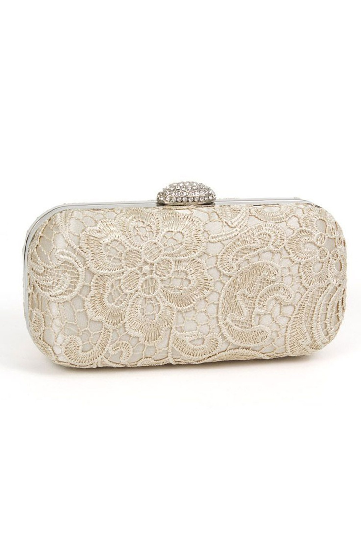 Magid Handbags Lace Evening Bag In Champagne