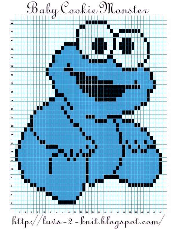 Sesame Street  Baby Cookie Monster pattern By Luvs2knit