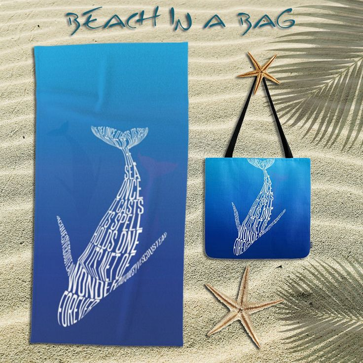 Beach towel,oversized beach towel,whales,ocean,diving,tote bag,bundle,beach bag,beach tote bag,animal,quote,marine life,beach accessories by OkopipiDesign on Etsy