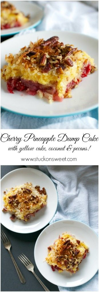 Cherry Pinaepple Dump Cake. Dump all of the ingredients into a baking pan and bake. It's the easiest dessert ever! | www.stuckonsweet.com