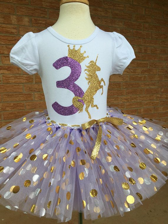 Third Birthday Unicorn Shirt 3rd Outfit Girls Party 3 Year Old Lavender Purple