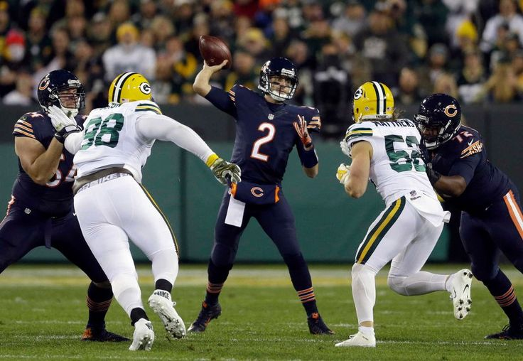Thursday Night Football: Bears vs. Packers  -  October 20, 2016  -  26-10, Packers  - Chicago Bears quarterback Brian Hoyer (2) throws during the first half of an NFL football game against the Green Bay Packers, Thursday, Oct. 20, 2016, in Green Bay, Wis.