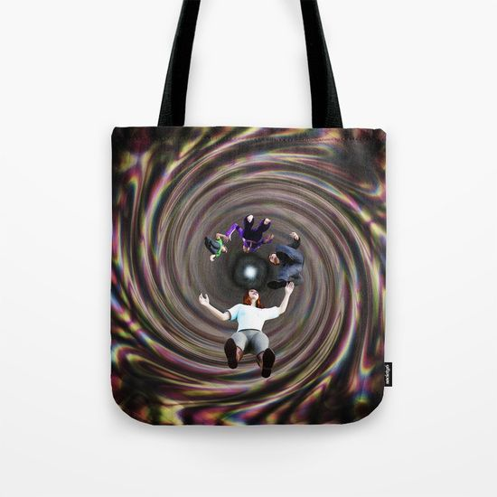 """Through the Wormhole Toward the Light Tote Bag by Terrella.  Our quality crafted Tote Bags are hand sewn in America using durable, yet lightweight, poly poplin fabric. All seams and stress points are double stitched for durability. Available in 13"""" x 13"""", 16"""" x 16"""" and 18"""" x 18"""" variations, the tote bags are washable, feature original artwork on both sides and a sturdy 1"""" wide cotton webbing strap for comfortably carrying over your shoulder."""