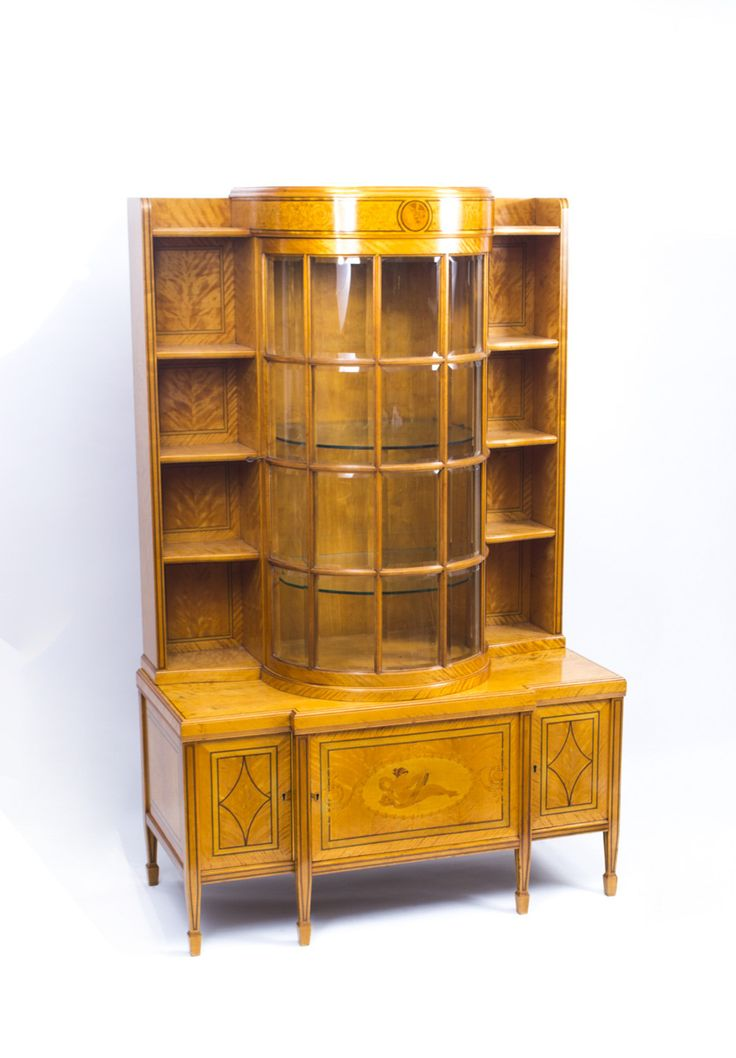 For Sale On   This Is A Superb Antique Late Century Satinwood Display  Cabinet, Outlined Throughout With Boxwood And Ebony Stringing. It Has A  Decorative ...