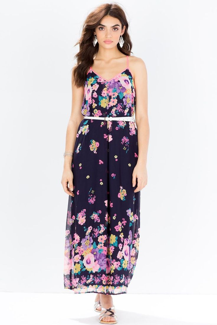 A bright pretty maxi dress, featuring a chiffon overlay with a blooming floral print and neon trimming. V-neck. Spaghetti straps. Racerback with a button loop closure. Elasticized waist with a skinny leatherette belt. Finished floor-length hem. Fully lined. $34.90