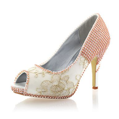 Satin/Lace Women's Wedding Stiletto Heel Peep Toe Pumps/Heels with Rhinestone