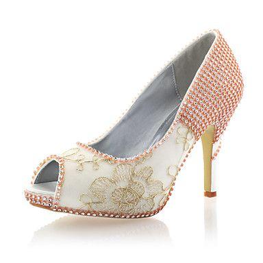 Satin/Lace Women's Wedding Stiletto Heel Peep Toe Pumps/Heels with Rhinestone