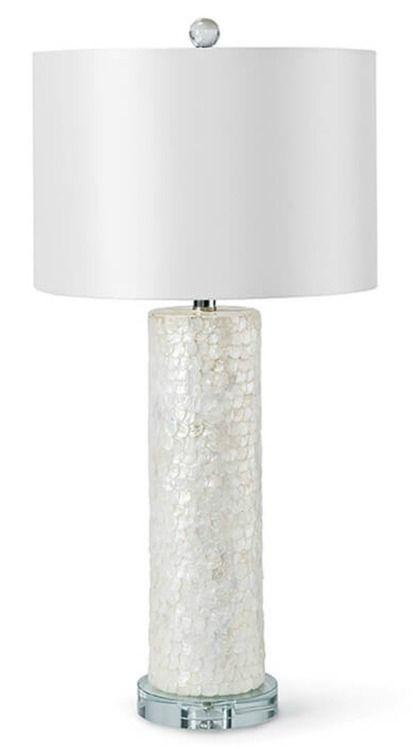 A Sleek Base Covered In Naturally Luminous Capiz Shells, The 29 Inch Tall  Scalloped Capiz