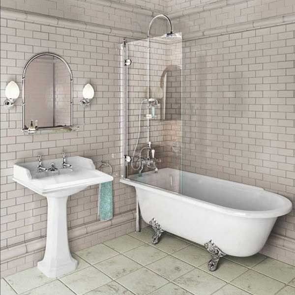 £386 + £124 fr feet Burlington Hampton LH Freestanding Shower Bath, 1500mm x 750mm, excluding Feet_1