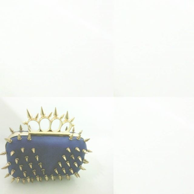 #spikes are never enough... #blue #clutch #handbag #fierce #glamourous #glamour #fashionista #accessory #curvyfashion #studs #rock #gold