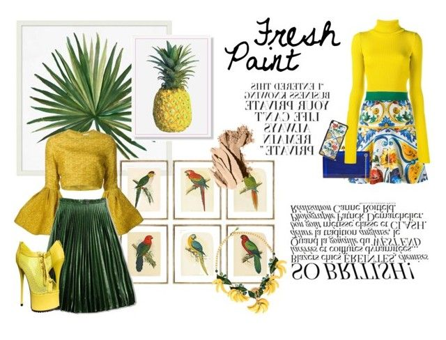 """Caution! Fresh Paint"" by estebban-aguila on Polyvore featuring Pottery Barn, William Stafford, Dolce&Gabbana, Charlotte Olympia, Jacquemus, Christian Siriano, Bobbi Brown Cosmetics, Spring, fresh and Tropicalia"