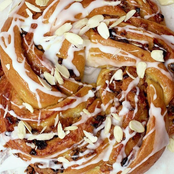 A recipe by Paul Hollywood, this apricot couronne is a real showstopper. The sweet bread is twisted into a circle of apricots, orange zest, walnuts and raisins.