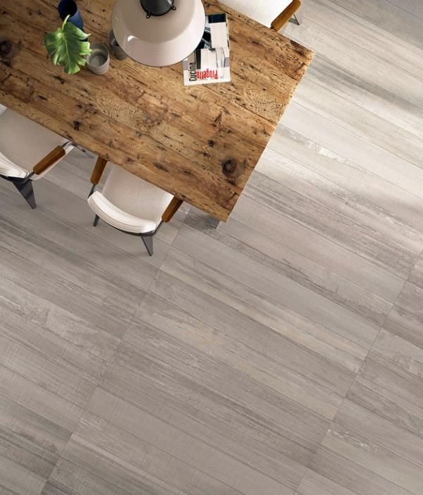 Light Grey Wooden Floor With Brown Wooden Table