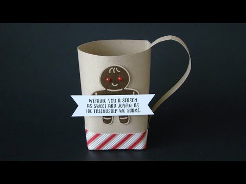 Simply Scored Hot Chocolate Mug | Video Tutorial, Cocoa, Christmas Gifts, Cookie Cutter Christmas Stamp Set, Cookie Cutter Builder Punch, Scoring, Candy Cane Lane DSP, Stampin' Up, Qbee's Quest, Brenda Quintana