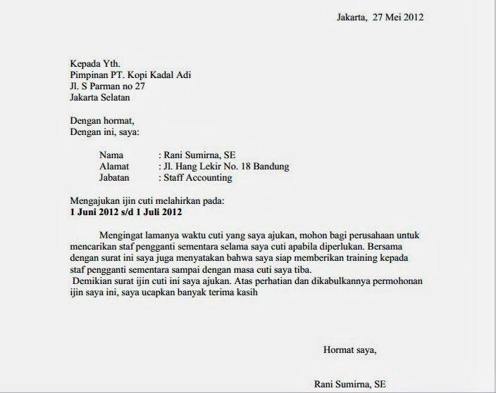 contoh surat izin cuti melahirkan letter pinterest