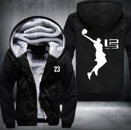 New! Winter Keep warm 23 number Sweatshirts Cool Man Hoodie LeBron James Boy Jacket Long Sleeve Thicken Fleece Zipper Jacket