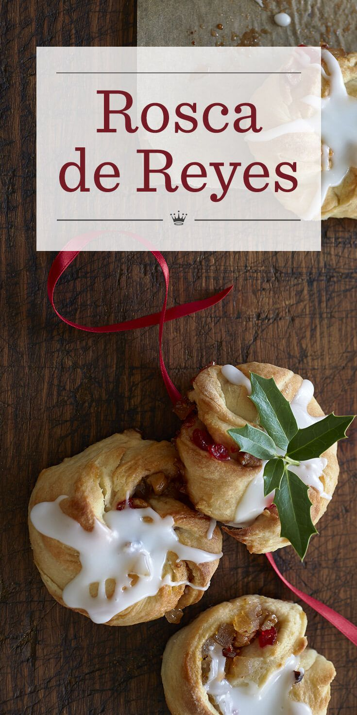 In this Rosca de Reyes recipe, dried figs, candied cherries and candied lemon and orange peels provide the fruit filling for these yummy miniature pastries.
