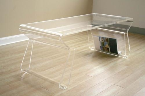 Deena Clear Acrylic Coffee Table with Magazine Rack | Interior Express