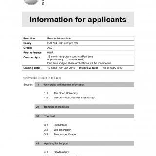 Institute of Educational Technology Information for applicants Post title: Research Associate Salary: £29,704 - £35,469 pro rata Grade: AC2 Post reference:. http://slidehot.com/resources/institute-of-educational-technology.48546/
