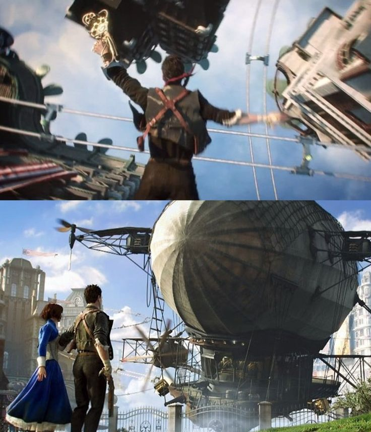 BioShock infinite - the skylines remind me a lot of Riven, where you ride the tram across them. So cool.