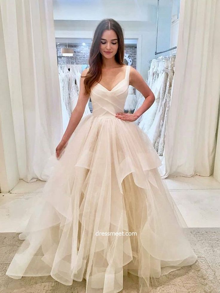 Charming Ball Gown V Neck Open Back Tulle & Organza Ivory Wedding Dresses | Dres…