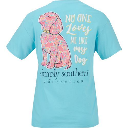40d2314c8699 Simply Southern Women's No One Loves Me Like My Dog Short Sleeve T-shirt  (Aqua Or Turquoise, Size Medium) - Men's Outdoor Apparel, Men's Outdoor Gr..
