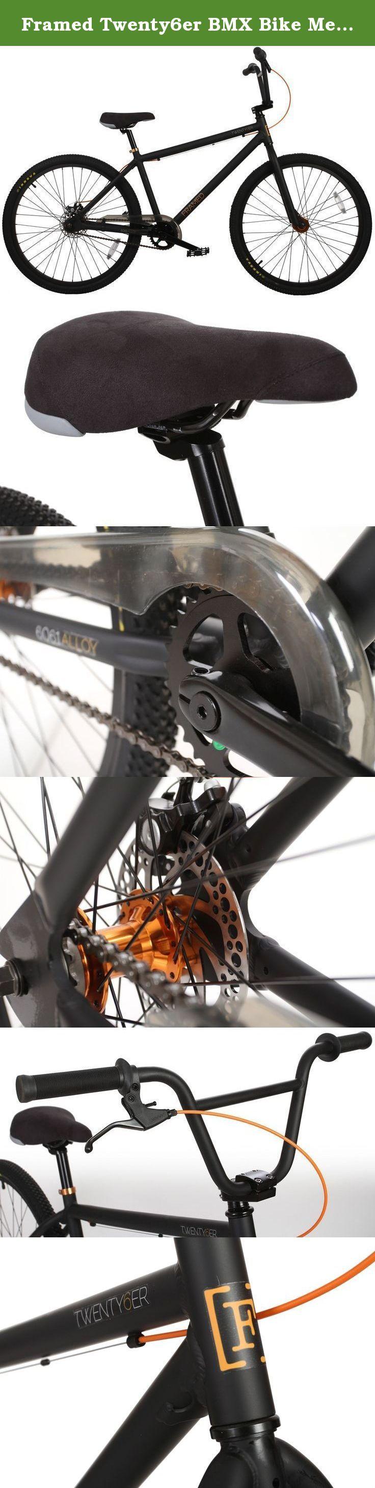 "Framed Twenty6er BMX Bike Mens Sz 26in. Key Features of the Framed Twenty6er BMX Bike: Frame - Ht 41X34X120mm, S/T 31.8mm, T/T 31.8mm, D/T 42mm, Round Tube, S/S 22 C/S 22 Alloy. Top Tube Length - 24.5in. Fork - 29"" Uni-Crown 28.6X25.4X186mm R/30, 0Ld100 31.8Blades W/0 Pivot W/Sw Hole , Leg Is Cr-Mo Cr-Mo. Headsets - 28.6/34/30mm 10Pcs H22.2 W/Alloy Top Cap+Star Nut Non-Hollow Bolt Steel. BB Parts - W/ 5/16""X9Balls Steel. Axle - 8T-19mm Cr-Mo Cold Forged Spline Spindle Cr-Mo. Chainwheel -..."