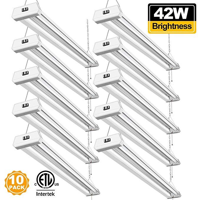 4 Ft Garage Workshop Shop Light Led Hanging Lamp Light 42W Daylight 10Pack ST