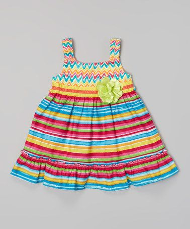 This Hot Pink & Yellow Stripe Flower Dress - Infant, Toddler & Girls by Sweet Heart Rose is perfect! #zulilyfinds