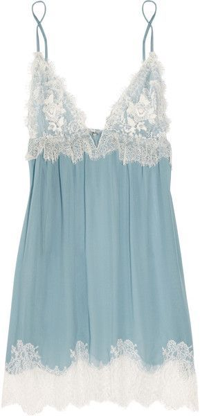 Jenny Packham Chantilly Lace and Silkchiffon Chemise in Green (blue) | Lyst