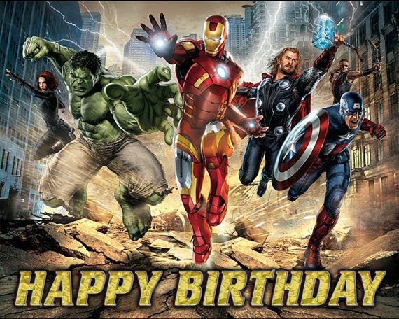 Avengers Personalized Printed Birthday Backdrop Banner