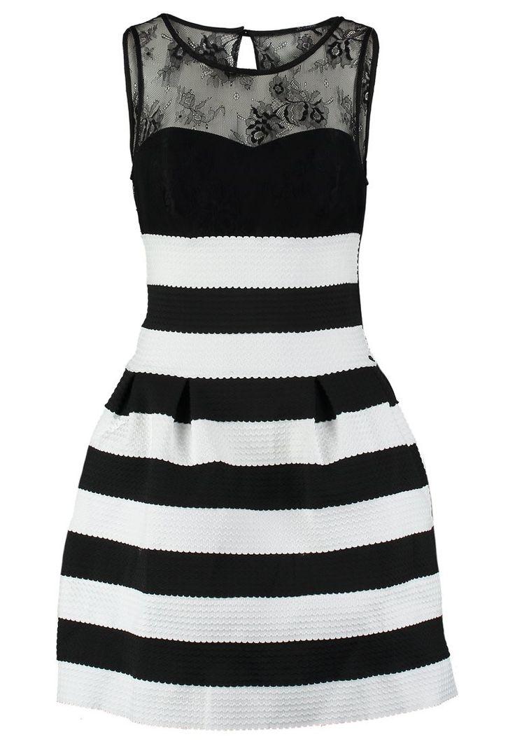 Guess MANOLA - Robe de soirée - black/white striped - ZALANDO.FR