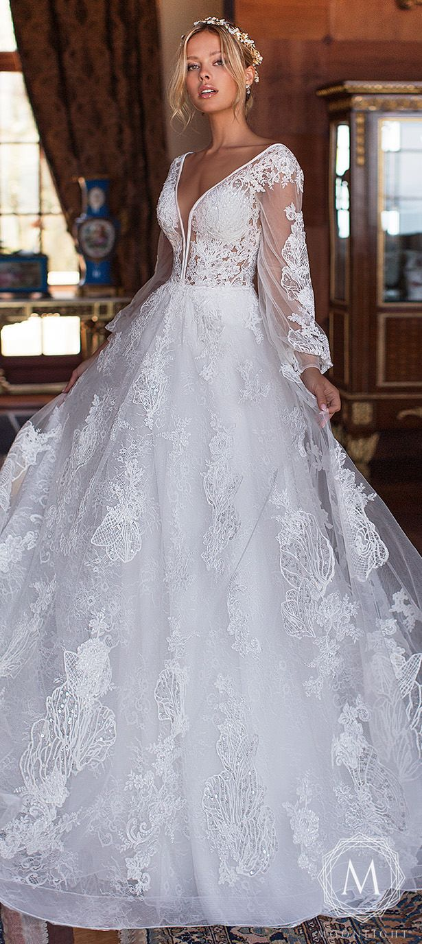 Moonlight Couture Wedding Dresses 2019 Romantic Lace Ball Gown Wedding Dress With Long Sleeves Wedding Dresses Glamourous Wedding Dress Wedding Dress Couture