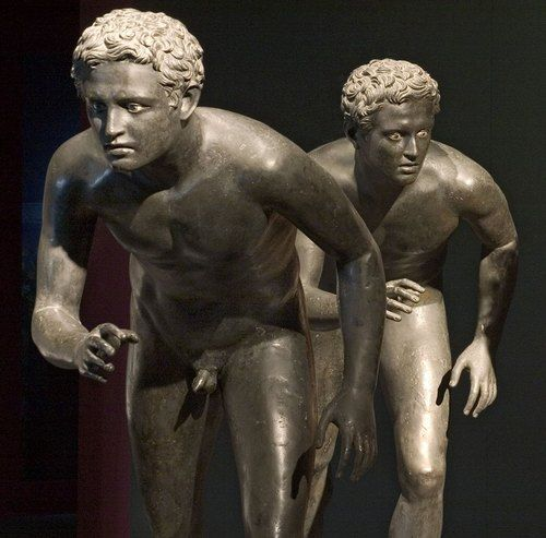 Statues from the Villa of the Papyri in Herculaneum that was buried in the pyroclastic surge the eruption of Vesuvius in 79 AD. Naples Museum of Archeology.
