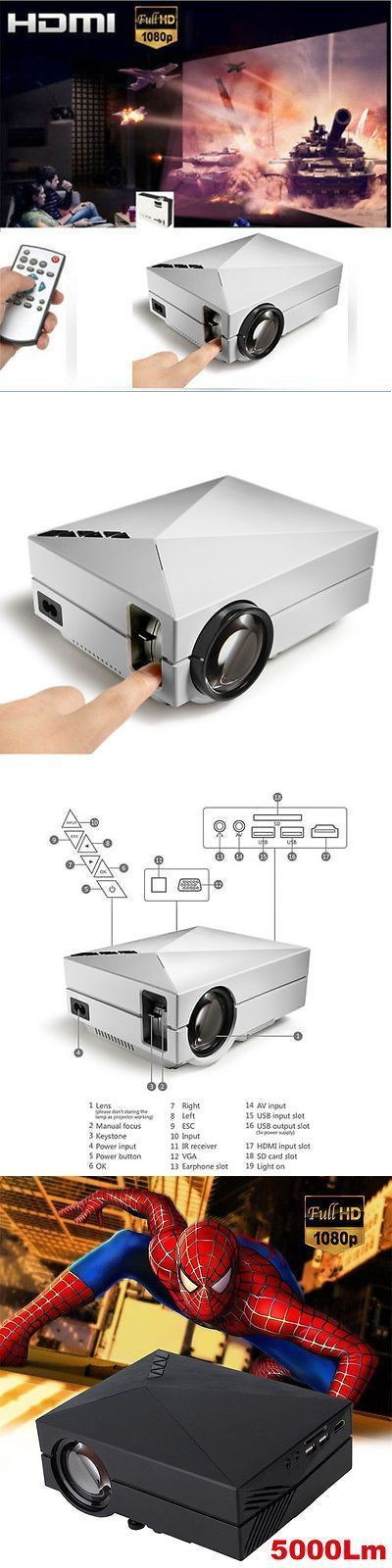 Home Theater Projectors: 1000 Lumens Hd Led Video Projector Home Cinema 3D Effect 1080P-Hdmi Multimedia BUY IT NOW ONLY: $71.99 #hometheatreprojectors #hometheateraccessories
