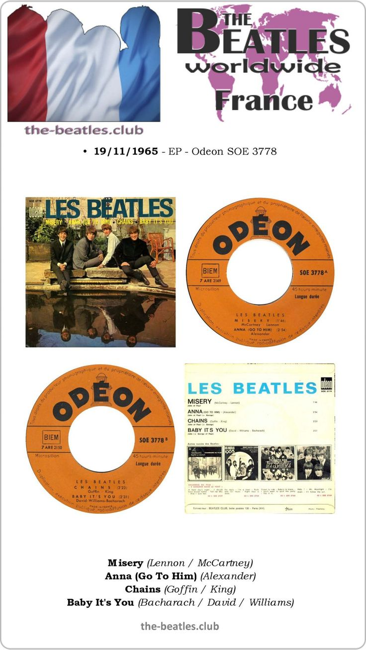 The Beatles France EP Odeon SOE 3778 Misery Anna (Go To Him) Chains Baby It's You Lyrics Vinyl Record Discography
