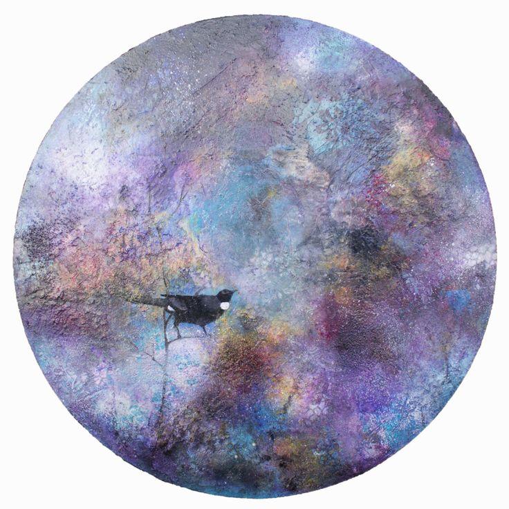 New Zealand Tui Bird - mixed media on board - mandala - pinks, purples, semi abstract original painting by Jackie Gray