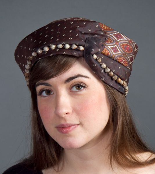 Brown Turban with Seed Beads